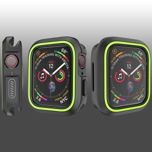 Two-color Soft TPU Protection Bumper Cover Case for Apple Watch Series 4 40mm - Black / Green