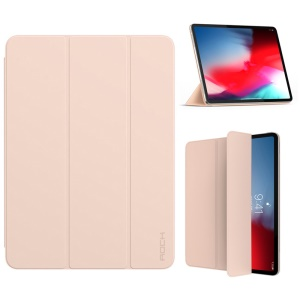 ROCK Veena Series Smart PU Leather Protection Cover Shell with Tri-fold Stand for iPad Pro 12.9-inch (2018) - Pink