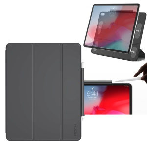 ROCK Veena Series Smart PU Leather Tri-fold Stand Protection Case with Stylus Pen Slot for iPad Pro 12.9-inch (2018) - Grey