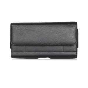 6.3 inch Universal Stone Grain PU Leather Holster Pouch with Card Slots for Huawei Mate 20 Lite / Galaxy A7 (2018) etc - Black