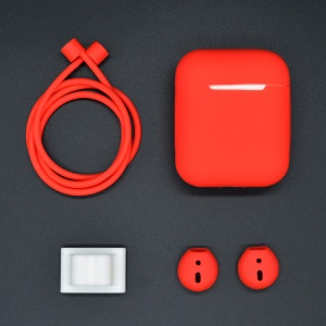 For Apple AirPods 4-in-1 Accessories Shock-proof Silicone Protective Casing + Neck Strap + Earphone Holder + Earbud Cover - Red