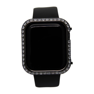 Shiny Single-row Rhinestone Decorated Metal Protective Case for Apple Watch Series 4 44mm - Black