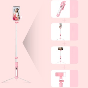 A18 1.6m LED Lightweight Multi-functional Bluetooth LED Fill Light Selfie Stick with Tripod for iPhone XS/X Etc - Pink