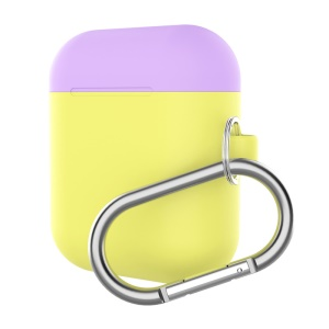 Silicone Box For Apple AirPods Case Protective Skin Earphone Charger Cover - Purple/Yellow