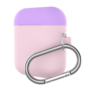 Silicone Box For Apple AirPods Case Protective Skin Earphone Charger Cover - Purple/Light Pink