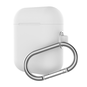 Silicone Protective Case for Apple AirPods Charging Case with Carabiner - White