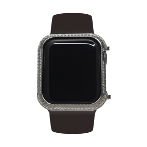 Metal Rhinestone Decor Watch Protective Frame Case for Apple Watch Series 4 44mm (Grid Pattern) - Black