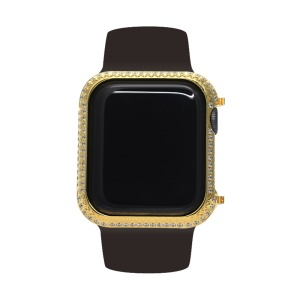 Metal Rhinestone Decor Watch Protective Frame Case for Apple Watch Series 4 44mm (Grid Pattern) - Gold