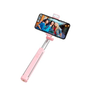 HOCO K10A Magnificent Wireless Selfie Stick with Backlight Tripod Phone Holder (L=1.1m) - Pink