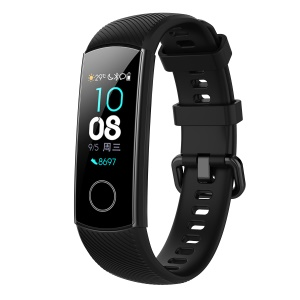 For Huawei Honor Band 4 Silicone Watch Wrist Band Replacement, Length: 95.6+124.8mm - Black
