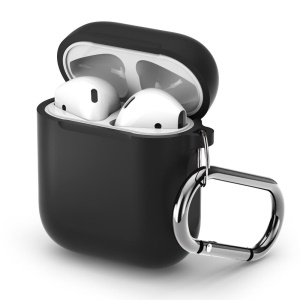 Silicone Protective Case for Apple AirPods Charging Case with Carabiner - Black