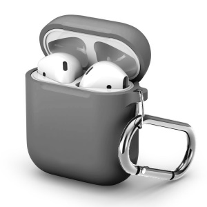 Silicone Protective Case for Apple AirPods Charging Case with Carabiner - Grey