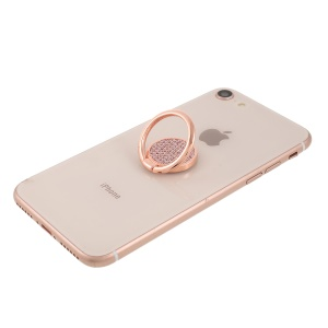 LGD Plaid Series Finger Ring Grip Holder Stand for Mobile Phone - Rose Gold