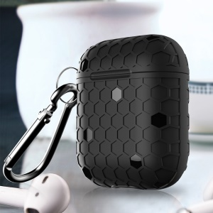 Football Pattern Bluetooth Headset Earphone Cover with Keychain for Apple AirPods Charging Case - Black