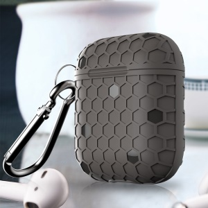 Football Pattern Bluetooth Headset Earphone Cover with Keychain for Apple AirPods Charging Case - Grey