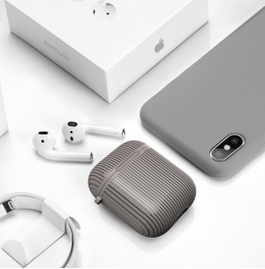 Striped Pattern TPU Bluetooth Headset Earphone Cover for Apple AirPods with Charging Case (2016) - Grey