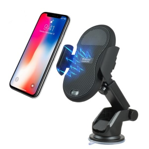 Car Infrared Sensing 10W Wireless Charger Stand Air Vent Mount for iPhone X/8/8 Plus etc (Not Support FOD Function) - Black