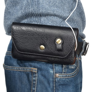 Portable Leather Waist Bag with Belt Clip for 5.5-inch Smartphones - Black