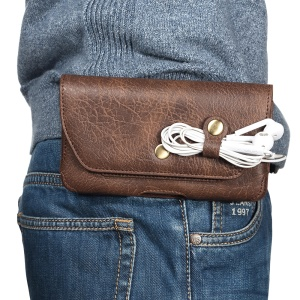 Portable Leather Waist Bag with Belt Clip for 5.5-inch Smartphones - Brown