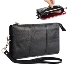 6.5 Inch Universal Phone Pouch Genuine Leather Waist Bag Zipper Portable Handbag with Strap for Smartphones - Black