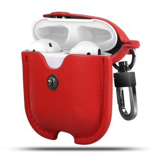 Wireless Bluetooth AirPods PU Leather Protective Case for Apple AirPods with Charging Case (2019)/ with Wireless Charging Case (2019)/with Charging Case (2016) - Red
