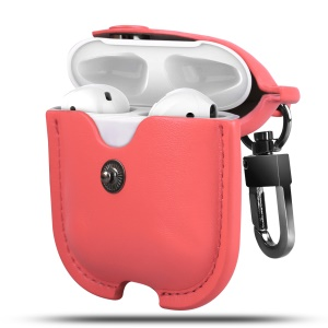 Wireless Bluetooth AirPods PU Leather Protective Case for Apple AirPods with Charging Case (2019)/ with Wireless Charging Case (2019)/with Charging Case (2016) - Watermelon Red