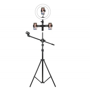 F-531F3+ Microphone Holder Stand Video Photography Ring Fill Light Phone Broadcast Bracket Kit for Live Streaming - Black