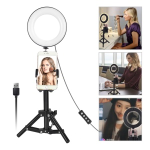 Mini 6-inch Dimmable Ring Light LED Tabletop Lamp with Cell Phone Holder and Metal Tripod Stand for Video Shooting and Makeup etc. - White