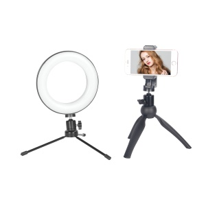 Mini 6-inch Dimmable Ring Light LED Desktop Lamp with Cell Phone Holder and Two Tripod Stands for Video Shooting and Makeup etc. - White