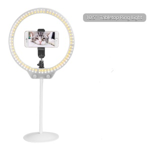 ZOMEI 10-inch Dimmable Ring Light Cell Phone Holder LED Desktop Lamp with Tripod Stand for Video Shooting and Makeup etc. - White