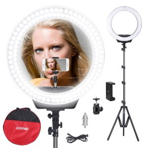 ZOMEI 16-inch Ring Light LED Camera Light Cell Phone Holder Desktop Lamp with Tripod Stand for Video Shooting and Makeup etc. - US Plug