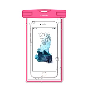 USAMS US-YD002 Borsa Fluorescente Impermeabile In TPU Per Iphone XS / X Ecc, Dimensioni: 17,5x10,5 Cm - Rosa