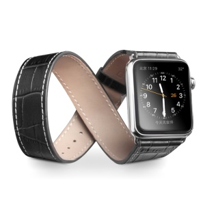QIALINO for Apple Watch Series 4 44mm / Series 3 2 1 42mm Double Tour Crocodile Texture Genuine Leather Band - Black