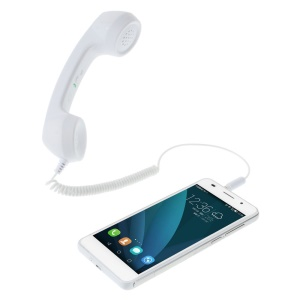 3.5mm Plug Anti-radiation Handset with Volume Switch for iPhone Samsung 611DS Smaller Size - White