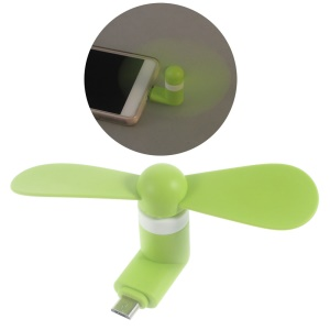 OTG Micro USB Powered 2 Blades Mini Fan for Samsung Huawei - Green