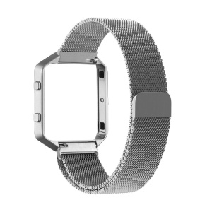 Milanese for Fibit Blaze Stainless Steel Watch Band with Magnetic Closure + Watch Frame - Silver