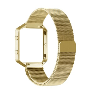 Milanese for Fibit Blaze Stainless Steel Watch Band with Magnetic Closure + Watch Frame - Gold