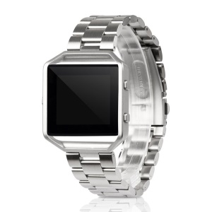 For Fitbit Blaze Stainless Steel Watch Band with Metal Frame - Silver