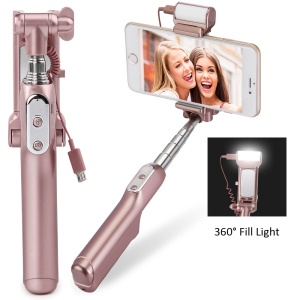 Bluetooth Selfie Stick with 360° LED Fill Light and Rearview Mirror - Rose Gold