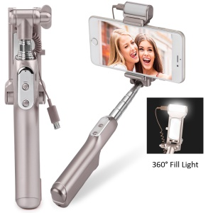 Bluetooth Selfie Monopod with 360° LED Fill Light and Rearview Mirror - Champagne Gold