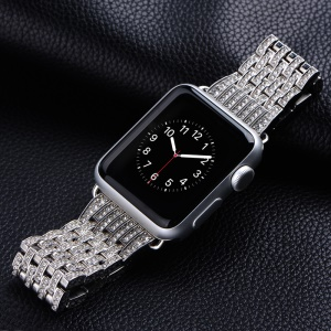 COTEETCI W4 Crystal- encrusted Stainless Steel Watch Band for Apple Watch 42mm Series 1 Series 2 - Silver