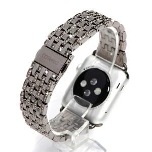 COTEETCI W4 Crystal- encrusted Stainless Steel Watch Band for Series 1 Series 2 Apple Watch 42mm - Grey