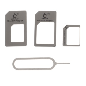 CMZWT Credit Card Style Card Holder with Micro Nano SIM Card Adapter & Eject Tool - Grey