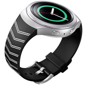Chevron Silicone Watch Strap Watchband for Samsung Galaxy Gear S2 SM-R720 - White / Black