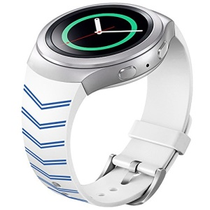 Chevron Silicone Watch Strap Watchband for Samsung Galaxy Gear S2 SM-R720 - Blue / White
