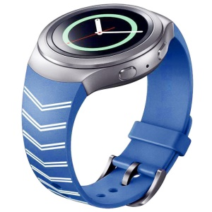 Chevron Silicone Watch Strap Watchband for Samsung Galaxy Gear S2 SM-R720 - White / Blue