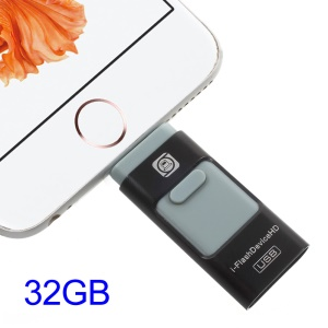 I-FLASH DEVICE 32GB MFI Lighnting 8pin & USB 3.0 Flash Drive for iPhone iPad (LY184) - Black
