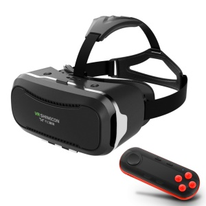 SHINECON 2.0 3D VR Virtual Reality Glasses Box with Wireless Bluetooth Remote Controller - Black / Red