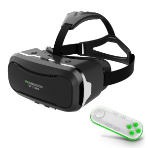 SHINECON 2.0 3D VR Virtual Reality Glasses Box with Wireless Bluetooth Remote Controller - White / Green