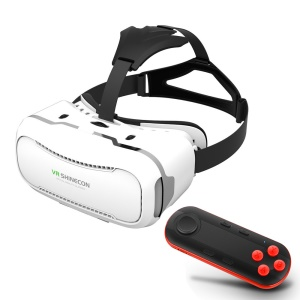 SHINECON 2.0 3D Virtual Reality VR Box with Wireless Bluetooth Remote Controller - White VR Box/ Black / Red
